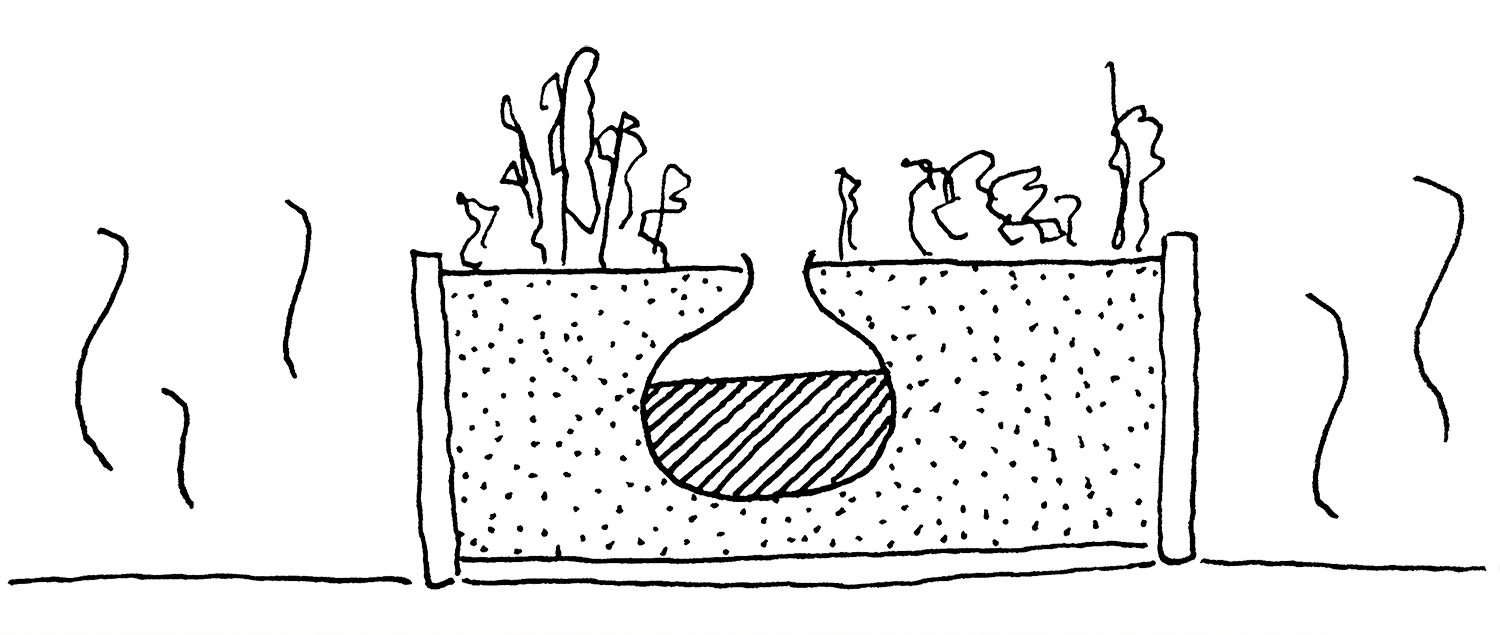 illustration of a terracotta bowl in a raised bed